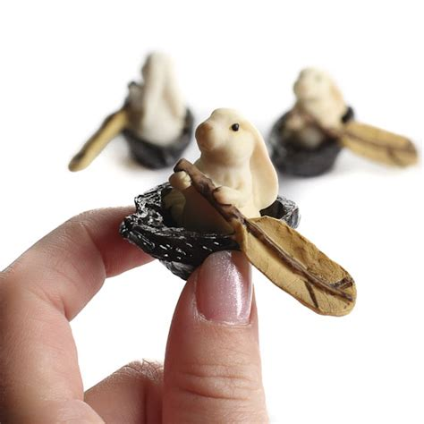 miniature rowing rabbit figurines what s new dollhouse