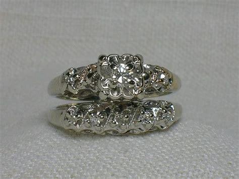 vintage wedding ring set ornate 1940s white gold illusion