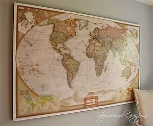 World Map Wall Art - Slipcovered Grey