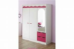 Armoire Basse Chambre : armoire chambre fille 2 tiroirs et 3 portes ~ Melissatoandfro.com Idées de Décoration