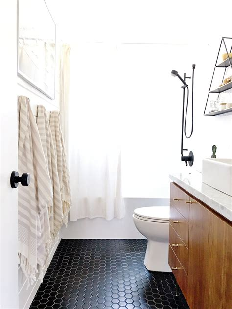 White Bathroom Flooring by How To Make A Mid Century Inspired Vanity From A Modern