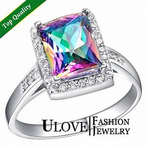 925 sterling silver simulated diamond multi color romantic for Multi colored wedding rings