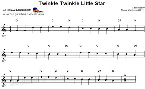 These 20 songs with easy guitar chords are perfect for practicing and getting the fundamentals down before moving on to more advanced pieces. Free Beginner Guitar Sheet Music   ... Twinkle Little Star: easy guitar TAB, chords @ GuitarNick ...