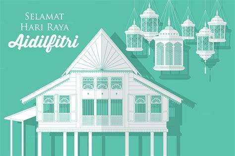 hari raya villagekampung vector eid card designs