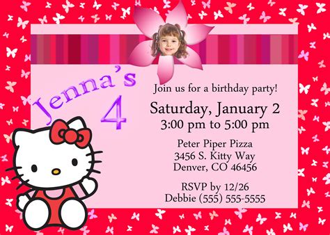 hello kitty birthday invitation kustom kreations