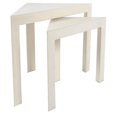 set of two table ls corner nesting tables set of two cream lacquer