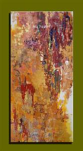 Abstract modern canvas wall art handpained large yellow