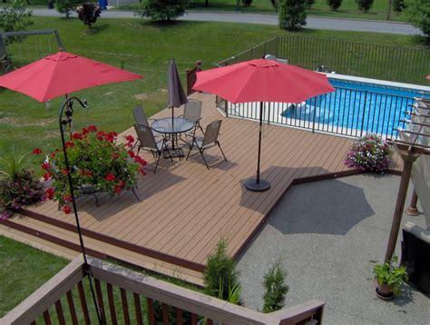 trex deck around pool and patio yard