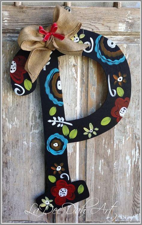 monogram letter initial door decor door art spring summer  sign monogrammed