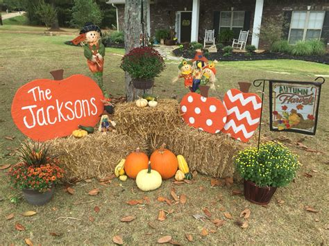 fall pumpkin decorations outside set up beside porch to the right make pumpkins with plywood buy plant hanger fall gardening