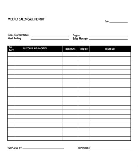 daily call report templates  word pages