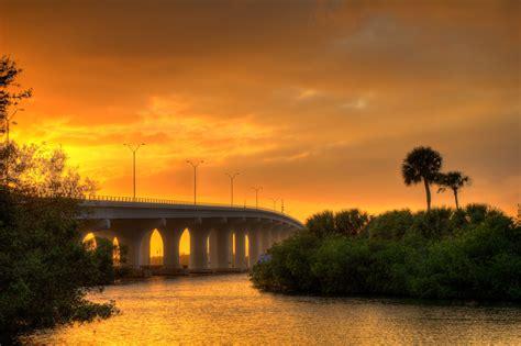 merril p barber bridge durign sunset lagoon vero beach florid