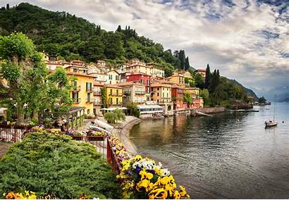 Lake Water Flowers Nature Mountain Italy Landscape