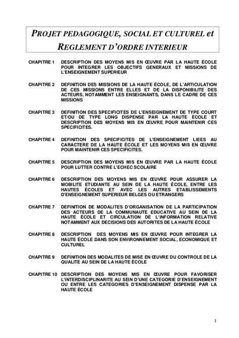projet p 233 dagogique social et culturel et reglement d ordre int 233 rieur