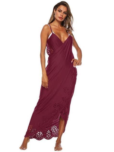 V Neck Backless Sleeveless Maxi Dress For Beach | Maxi ...