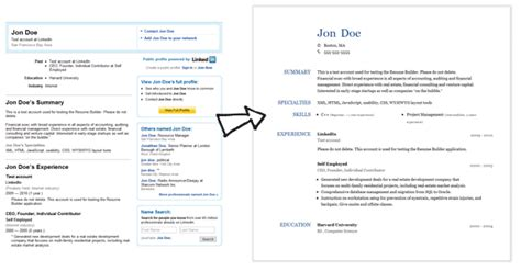 How To Look For Resumes On Linkedin by Create A Resume From Your Linkedin Profile