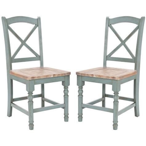 Safavieh Dining Chair by Safavieh Kelley Pale Blue And Oak Wood Dining Chair Set