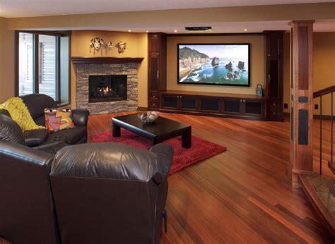 kayu flooring  basement contemporary home theater