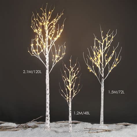 2ft 4ft 5ft 7ft pre lit led birch