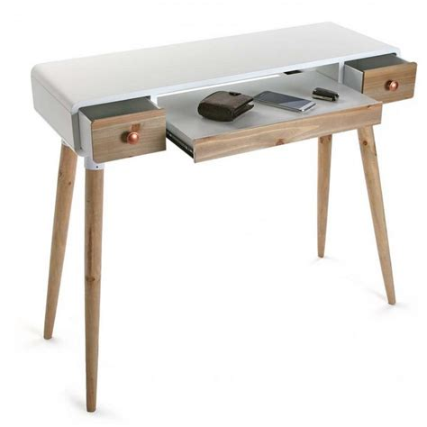 table bureau blanc table bureau console avec tiroirs design scandinave bois