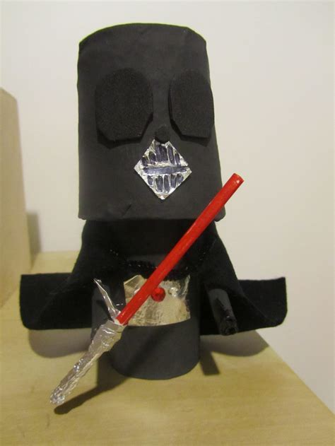 darth vader puppet toilet paper roll plastic cup paper mache black paint tin