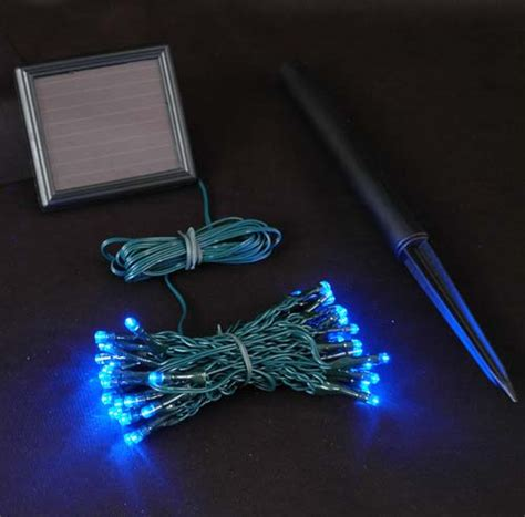 blue solar lights with 50 bulbs novelty lights inc