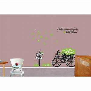 Flowers bicycle to love and joy wall decals vinyl wall for What kind of paint to use on kitchen cabinets for vinyl removable wall art