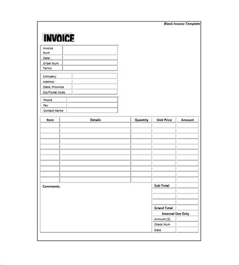 Standard Will Template Free by Standard Invoice Template 8 Free Sle Exle