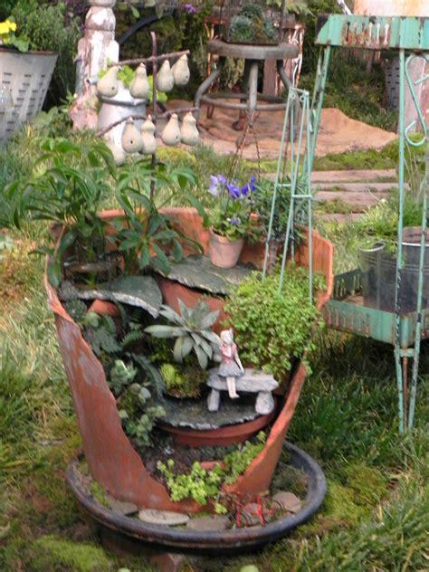 turn broken pots into a miniature garden page 2 of 2