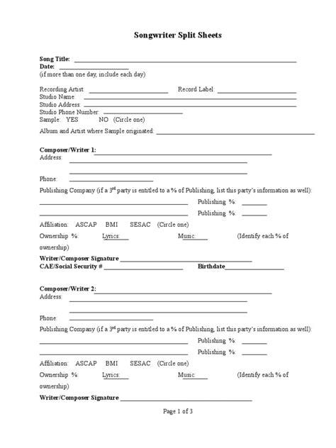 split sheet songwriter split sheet