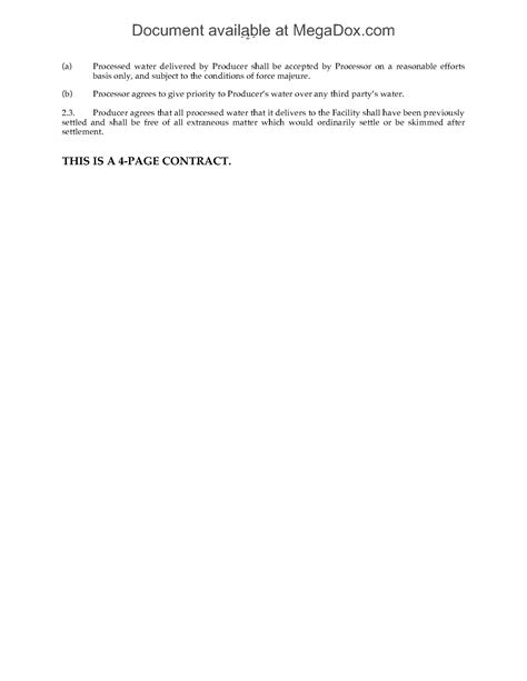 waste water disposal agreement legal forms  business