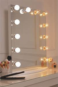 vanity mirror with a white finish framed with 12 led