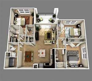 D Open Floor Plan Bedroom Bathroom Inspirations 3d 3 House