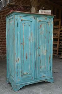 armoire parisienne patinee turquoise vieilli style With amazing meuble effet vieilli blanc 2 peinture relooker vos meubles en bois avec de la patine