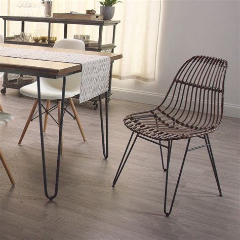 rattan flynn hairpin dining chairs with rustic legs set of
