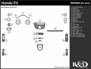 Honda Fit 2009 2010 2011 Dash Trim Kit A