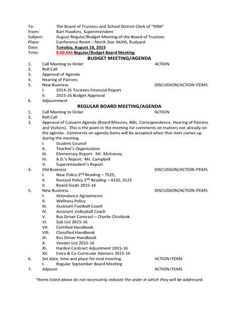 budget meeting agenda