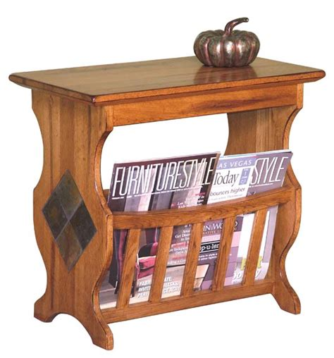 end table with attached l and magazine rack rustic magazine rack end table rustic oak magazine rack
