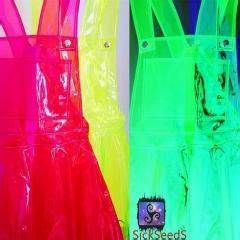 Women Fashion Neon Colored Pvc Overall Dress Suspender
