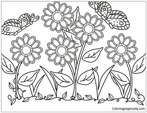 flower garden coloring page  coloring pages