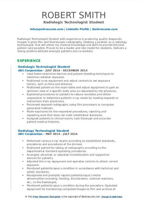 Technologist Resume by Radiologic Technologist Resume Sles Qwikresume