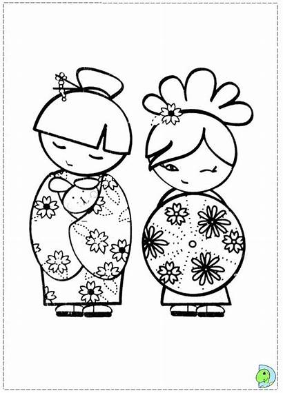 Kokeshi Coloring Doll Dolls Pages Drawing Dinokids