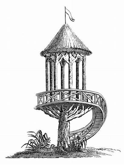 Clip Garden Tree Treehouse French Antique Structure