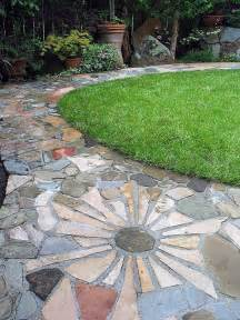 flagstone pathways flagstone flower path mosaic stained glass inspiration pinterest