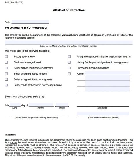 georgia affidavit  correction form