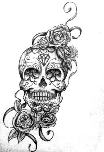 roses  sugar skull tattoo design