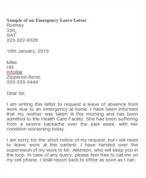 sle letter to employer requesting family leave