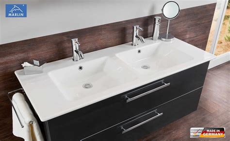 marlin 3030 christall waschtischunterschrank set 120 cm mit keramik doppelwaschtisch impuls home