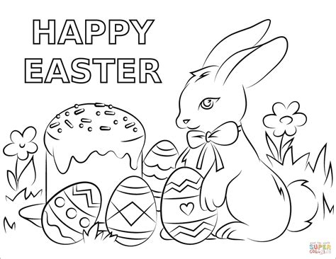 happy easter coloring page  printable coloring pages