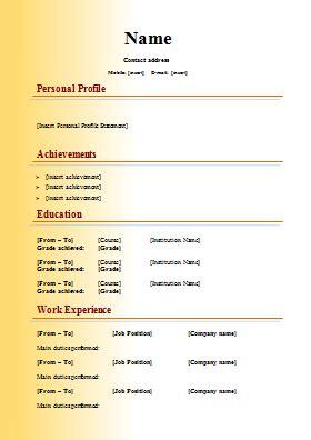 modern cv template personal profile achievements